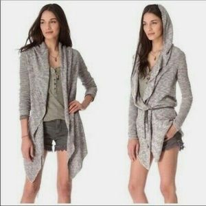 Free People Gray Long Sleeve Tie Waist Cardigan